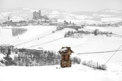 Langhe vineyards. Black and white photo. Winter panorama of the vineyards of Serralunga Piedmont, Northern Italy, UNESCO World Heritage Site royalty free stock images