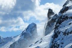 Winter-Panorama von Rifugio Scoiattoli Cinque Torri, Dolomit, Italien Lizenzfreie Stockbilder