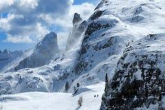 Winter-Panorama von Rifugio Scoiattoli Cinque Torri, Dolomit, Italien Stockbild