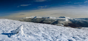 Winter panoramic landscape in mountains. Stock Images