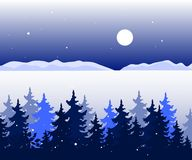 Winter panoramic landscape with trees, valley and mountains hills in distance. Vector stock illustration