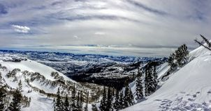 Winter Panoramic view of the back of the Wasatch Mountains Utah. From the top of Brighton Ski Resort in the Rocky Mountains Royalty Free Stock Images