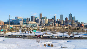 Winter Panoramic View Of Downtown Denver Royalty Free Stock Images