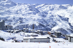 Winter panoramic view of French ski resort village in Alps Stock Photo