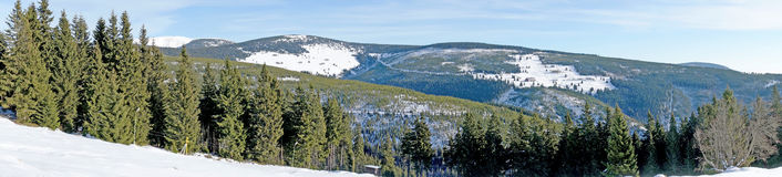 Winter panoramic view of giant mountains Stock Photography