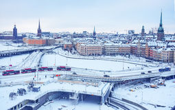 Winter panoramic view from the observation platform of the Old Town Gamla Stan in Stockholm, Sweden Stock Images