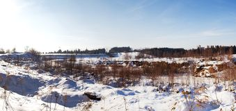 Winter panorma of Liberec road Royalty Free Stock Photos