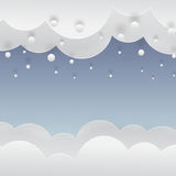 Winter paper background with falling snow. Winter blue background with falling snow, clouds and snowdrift, paper cut out art style vector illustration