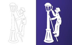 Winter paper cut. Lamplighter. Wycinanka. Winter paper cut. Lamplighter on the ladder. Wycinanka Royalty Free Stock Image