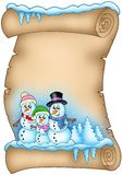 Winter parchment with snowman family Royalty Free Stock Photos
