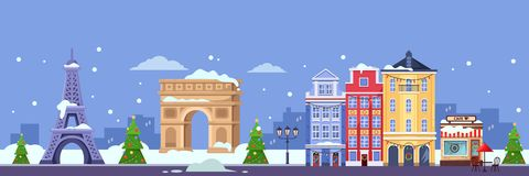 Winter in Paris. Vector flat illustration. Christmas and New Year travel to France stock illustration