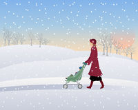 Winter park. An illustration of a woman with a pushchair walking through a snowy winter park in the evening under a setting sun Royalty Free Stock Photo