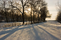 Winter park. Winter snowy town park in Samara. Russia Stock Images