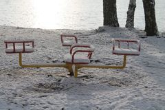 Winter in the  park. Beautiful  winter day in the park  covered shine sparkling snow and rime Stock Photography