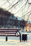 Winter Park bench Alley Stock Photography