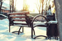 Winter Park bench Alley Stock Photo