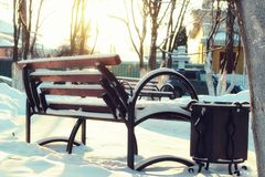 Winter Park bench Alley Royalty Free Stock Image