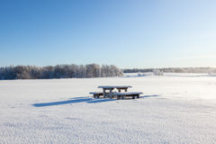 Winter Park bench Stock Photos