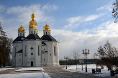 Winter park in Chernihiv, Ukraine, with St, Catherine church Royalty Free Stock Photos