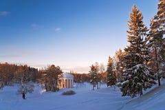 Winter park with classical rotunda Royalty Free Stock Photos