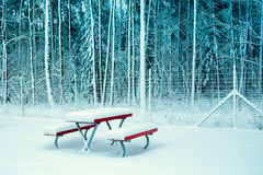 Winter park covered with snow. A table and two benches covered with snow in the park Royalty Free Stock Photos