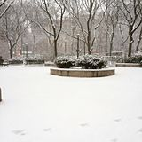 Winter Park. Empty Park in Manhattan / NYC filled with snow Stock Image