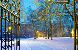 Winter park with gateway by night Stock Photos