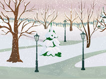 Winter Park Landscape. Winter park 2d game landscape with trees covered with snow flat vector illustration Stock Photo