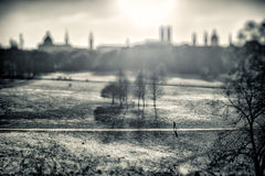 Winter Park in Munich, Germany. Black and White Royalty Free Stock Photo