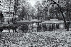 Winter Park in Munich, Germany. Black and White Royalty Free Stock Images