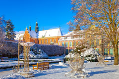 Winter park in Oliwa. Snow covered city park in a winter day. Oliwa, Poland Stock Photography