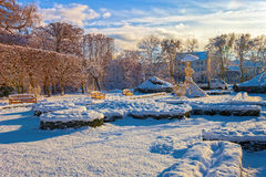 Winter park in Oliwa. Snow covered city park in a winter day. Oliwa, Poland Stock Photo