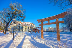 Winter park in Oliwa. Snow covered city park in Oliwa, Poland Royalty Free Stock Photography