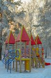 Winter park and playground. On sunset light Stock Images