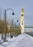 Winter park by river clock tower snow Montreal Stock Photo