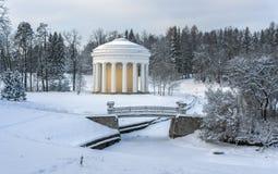 Winter park with rotunda and bridge Stock Image