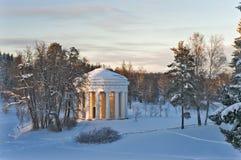 Winter park with rotunda Royalty Free Stock Photos