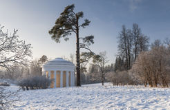Winter park with rotunda Royalty Free Stock Images