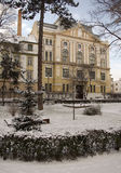 Winter park in Sibiu. With Astra library building Royalty Free Stock Image