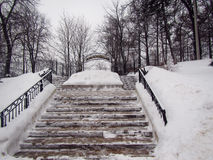 Winter park stairs in small Russian town. Winter park stairs in Zvenigorod small Russian town royalty free stock photography
