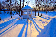 Winter park at sunset. Boldino national park, Russia Royalty Free Stock Photography