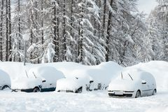 Winter parking Royalty Free Stock Photography