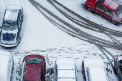 Winter parking abstract. Winter parking lot abstract view from above Stock Image