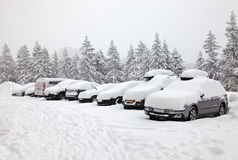 Winter parking Stock Images