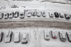 Winter parking Stock Photos