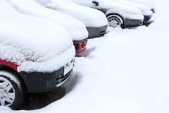 Winter parking lot Royalty Free Stock Photography