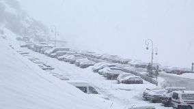 Winter parking in snow stock video footage