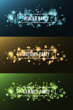 Winter party. Autumn party. Summer party. Background of multicolored lights. Glare bokeh. White, rectangular banners. Flying leave Stock Image