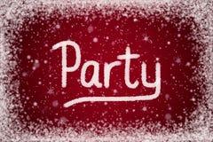 Winter-Party-Einladung auf rotem Schnee-Hintergrund stock abbildung
