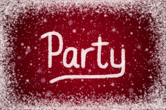 Winter Party Invitation on Red Snow Background stock illustration